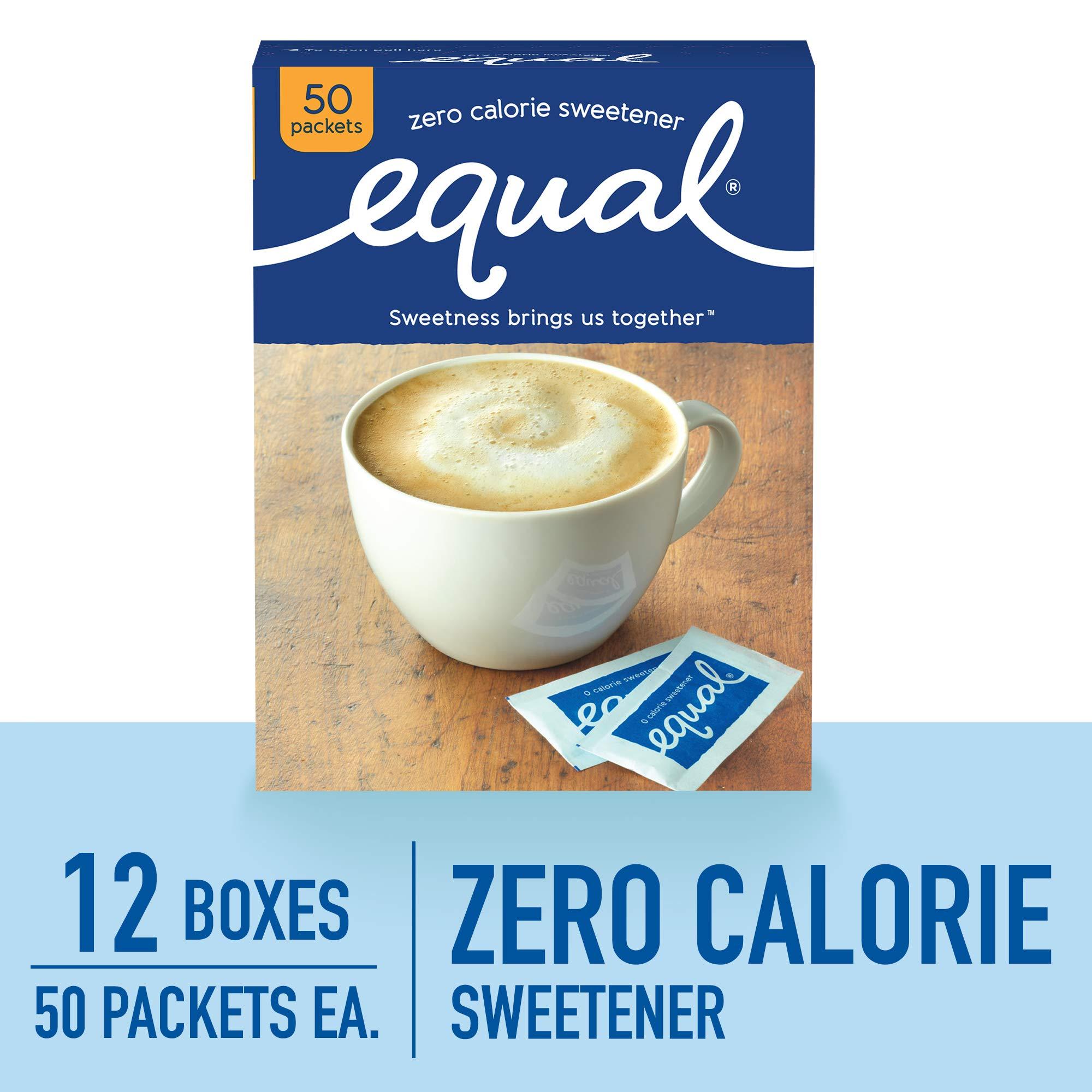 EQUAL 0 Calorie Sweetener, Sugar Substitute, Zero Calorie Sugar Alternative Sweetener Packets, Sugar Alternative, 50 Count (Pack of 12)