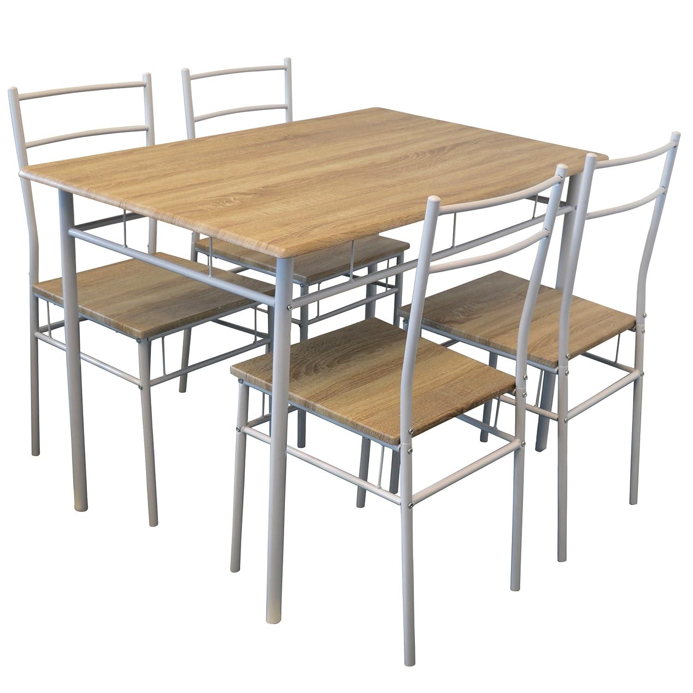 Esstisch & Stühle für die Küche - 5-tlg. - Weiß: Amazon.de: Küche ...
