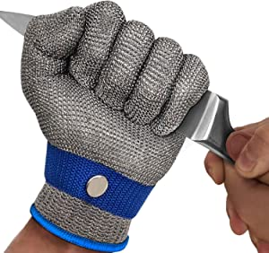 MAFORES Cut Resistant Gloves Level 9 Stainless Steel Wire Metal Mesh Butcher Safety Work Gloves for Meat Cutting, Fishing, Latest Material (Medium)