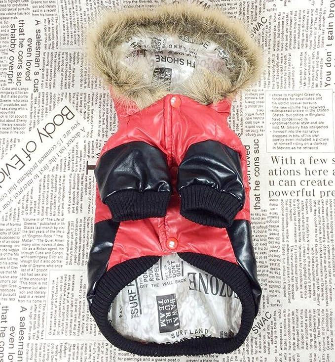 zunea piel sintética Bomber con capucha perro invierno abrigo abajo chaqueta/chubasquero impermeable grueso, acolchado cálido prendas de vestir, ...