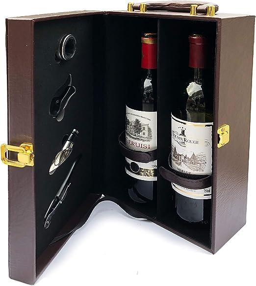 Elegante 2 Botella Vino Caja con Herramientas - Cuero Encuadernado con Asa de Transporte - Sacacorchos, Vertedor, Aluminio Cortador, Servilleta / Goteo Anillo {Vino ...