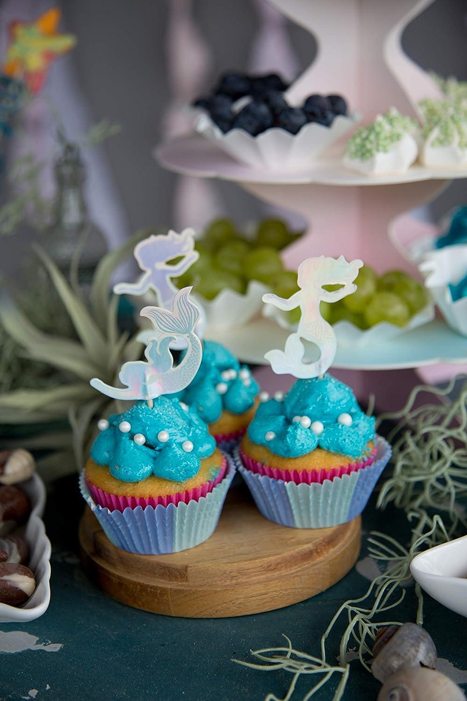 Talking Tables Mermaid We Heart Mermaids Cake Toppers Papel Medium 12 Pack