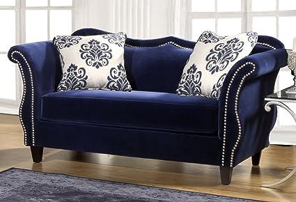 Furniture Of America Athena Glamorous Loveseat, Royal Blue