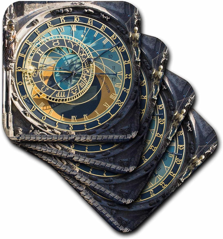 3dRose cst_81259_1 Astronomical Clock, Orloj, Prague, Czech RepubLIc Eu06 Tha0021 Tom Haseltine Soft Coasters, Set of 4