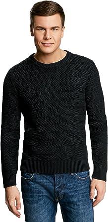 TALLA XL. oodji Ultra Hombre Jersey de Punto Texturizado con Cuello Redondo