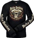 Harley-Davidson Military - Men's Black Long-Sleeve Graphic T-Shirt - USAG Yongsan | Pinstripe Engine