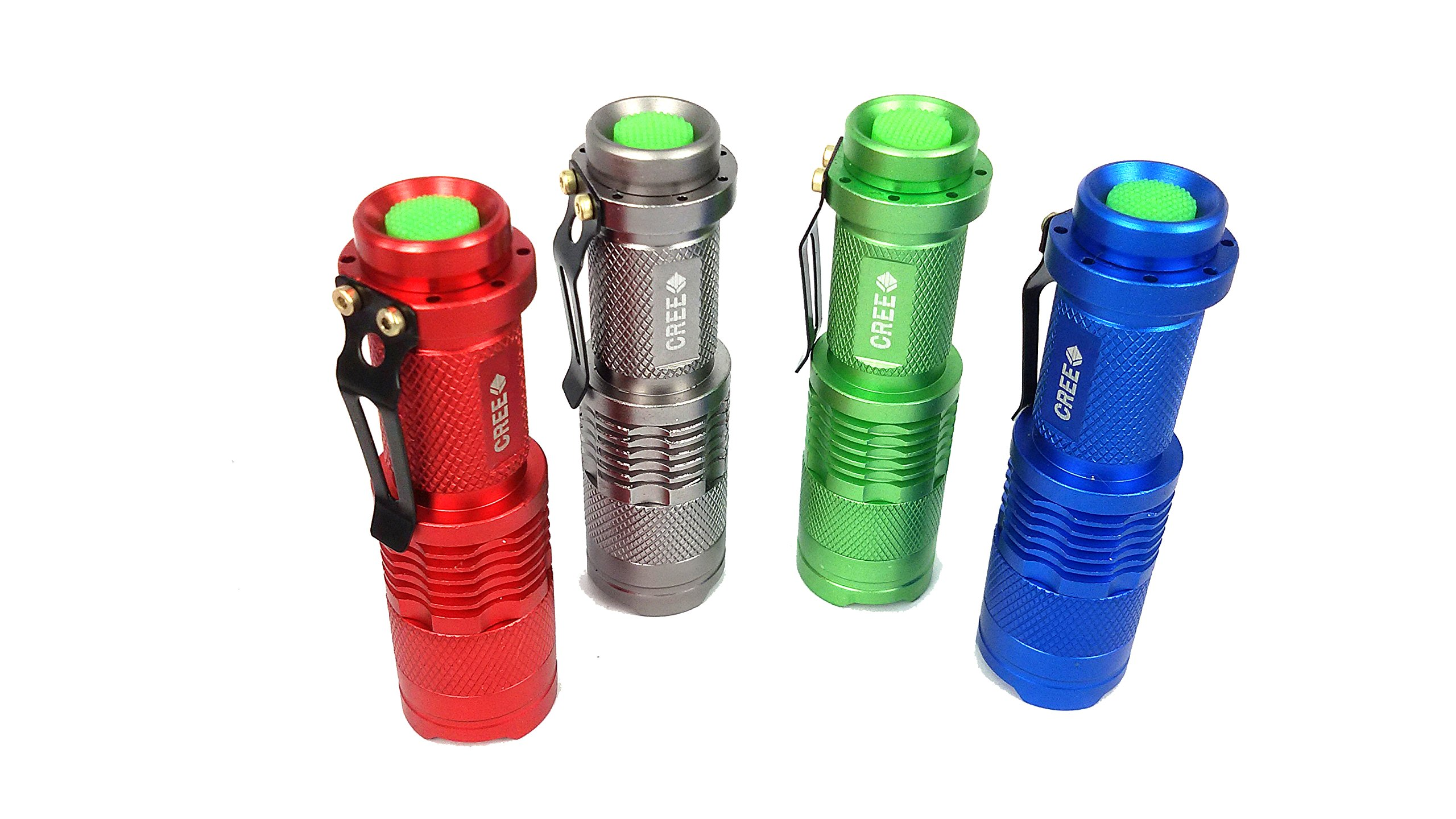 Goldengulf 3 Mode Focus Adjustable Cree Led High Power Super Bright Portable Handheld Flashlight Tactical Torch Lamp For Riding Camping Hiking Hunting, 4pcs/pack-Red/Blue/Siliver/Green