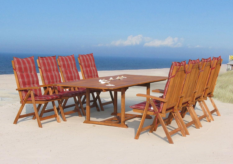 Garten Möbelgruppe Cuba 17tlg Rubin gestreift mit ausziehbaren Tisch