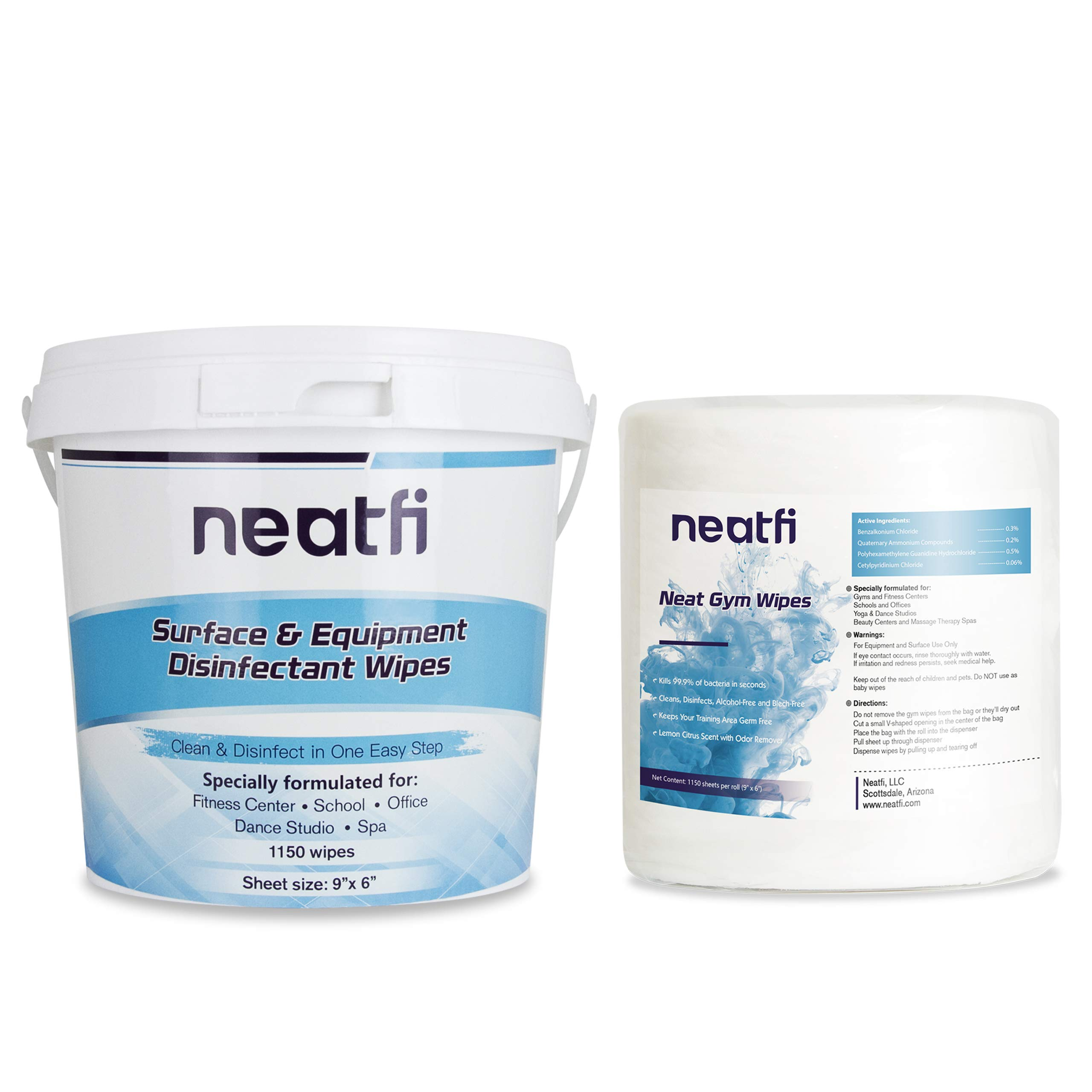 NeatFi Antibacterial Surface and Gym Equipment Disinfecting Wipes (1,150 Wipes) + Reusable Wipe Bucket Dispenser