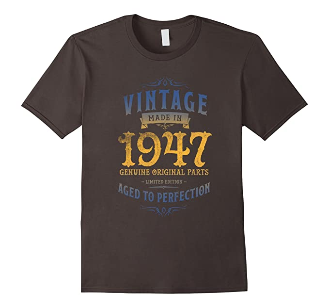 Mens Made In 1947 Vintage 70th Birthday T Shirt Tee Gift Funny 3XL Asphalt