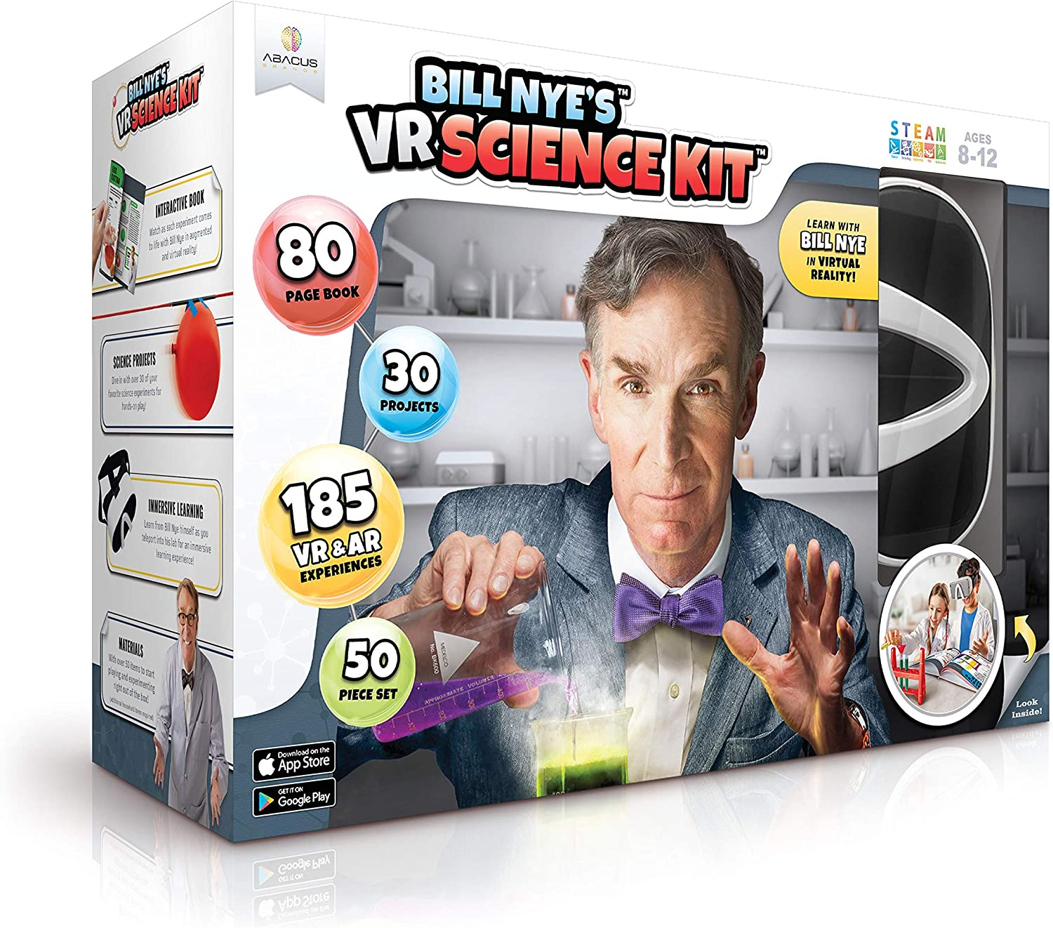 Abacus Brands Bill Nye's VR Science Kit Virtual Reality Kids Science Kit, Book and Interactive Learning Activity Set