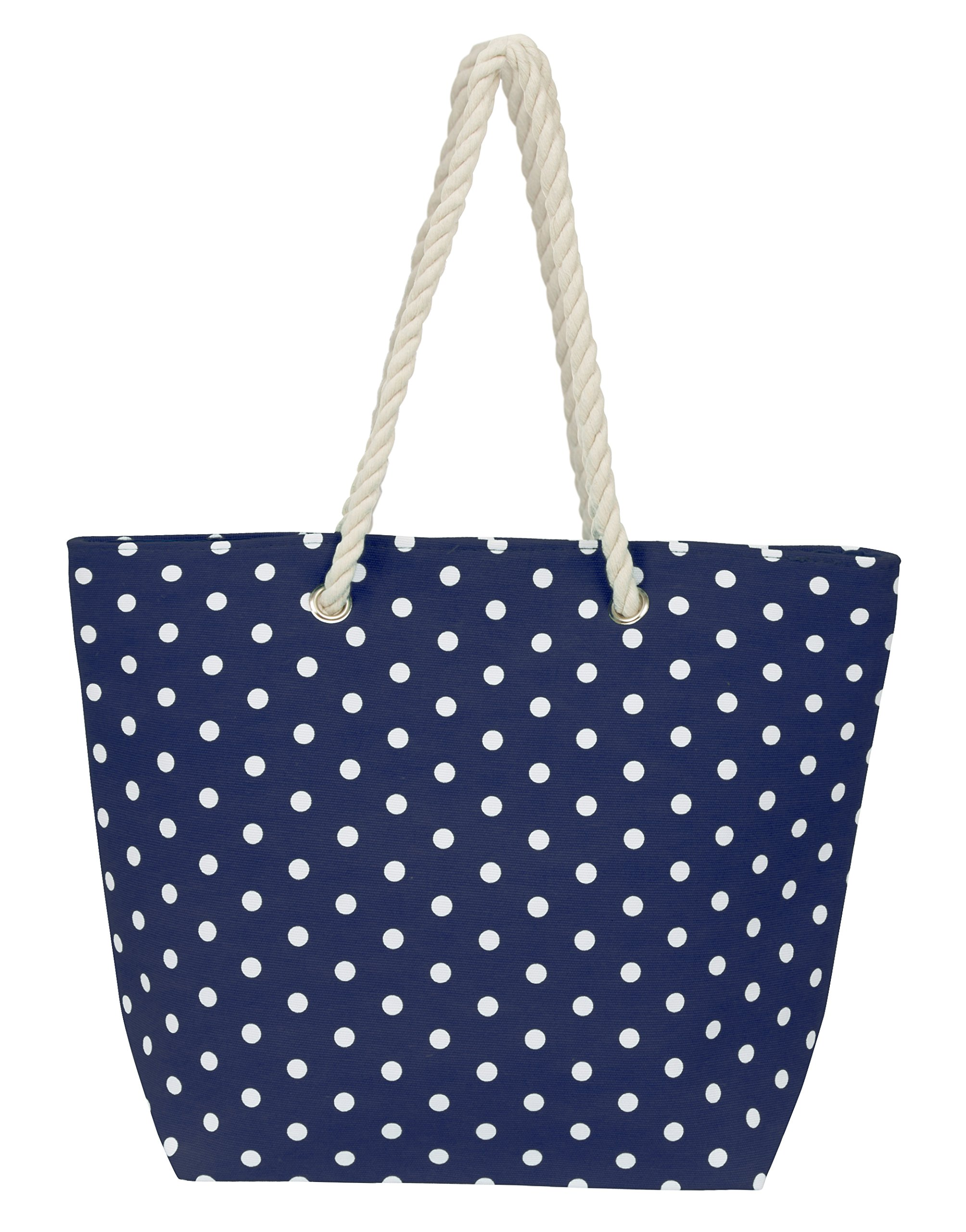 Leisureland Large Rope Handle Water Resistant Canvas Beach Tote Bag (18''x14''x6'', Polka Dots Navy Blue)