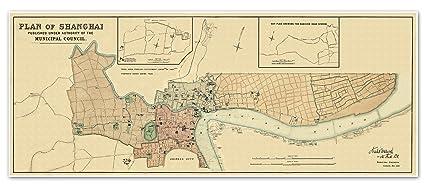 Amazon.com: Antiguos Maps Waterlow & Sons MAP Plan of SHANGHAI China on