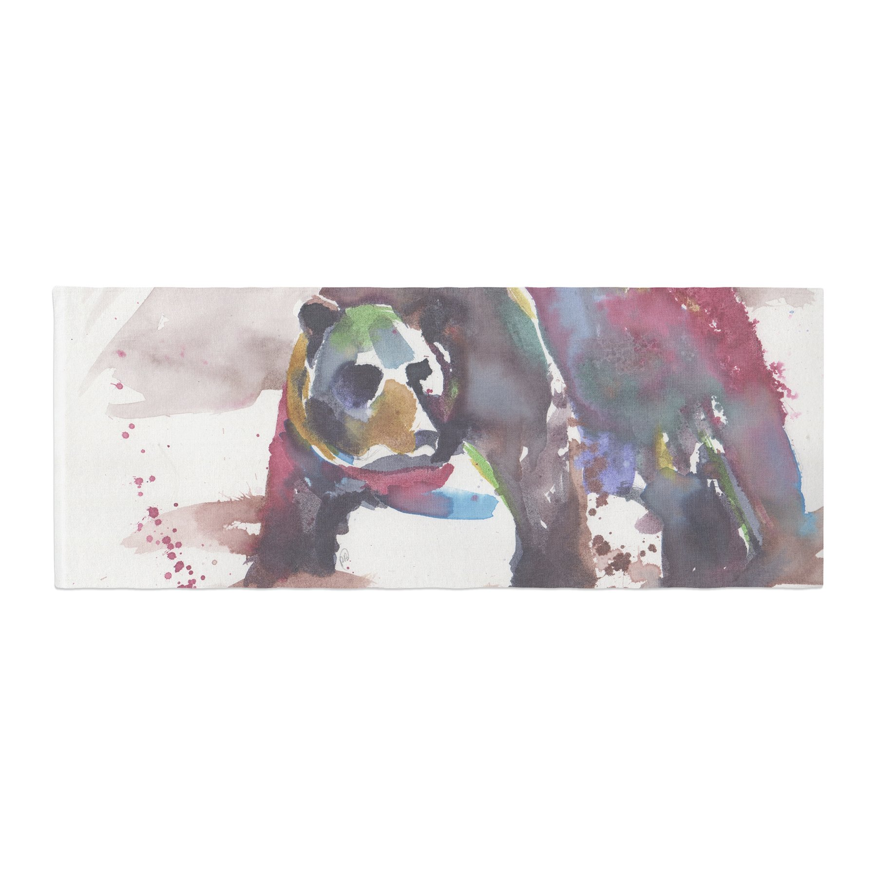 Kess InHouse Rebecca Bender Grizzly Bear Watercolor Abstract Animal Bed Runner, 34'' x 86''