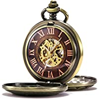 TREEWETO Mens Womens Antique Mechanical Pocket Watch Skeleton Bronze Case Steam Train Railroad Roman Numerals