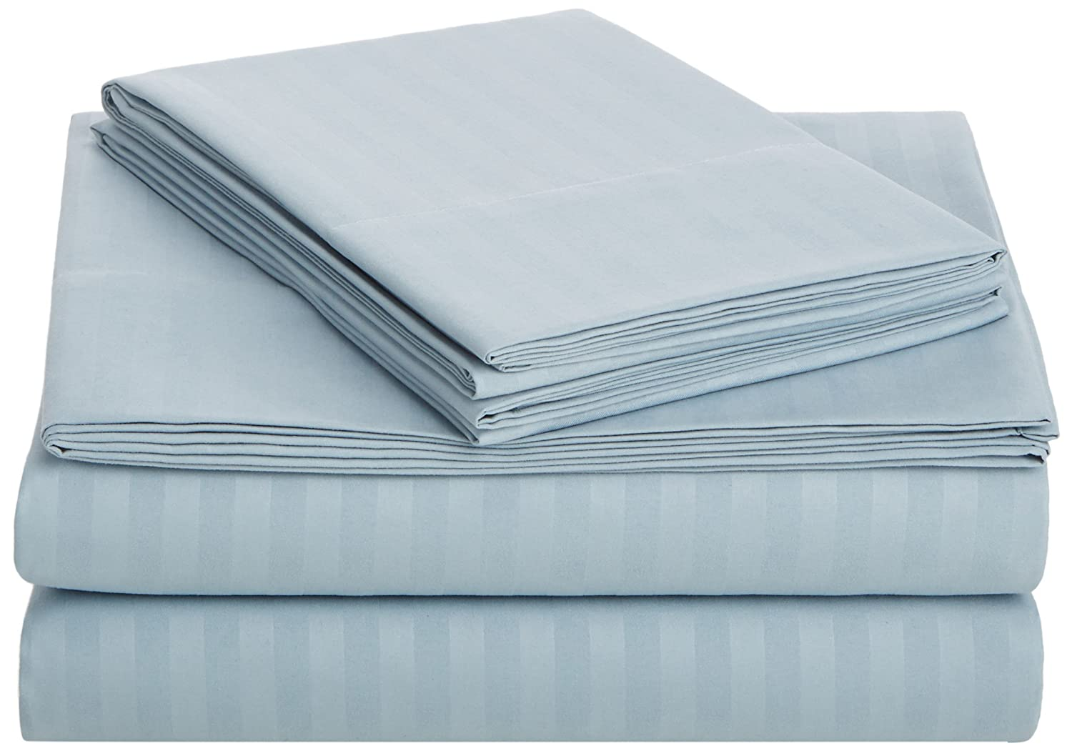AmazonBasics Deluxe Microfiber Striped Sheet Set, Spa Blue, Queen