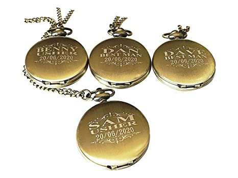99395e11c 4 Personalized Pocket Watches - 4 Groomsmen Unique Gifts - Chain, Box and  Engraving Included