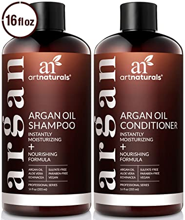 ArtNaturals Organic Moroccan Argan Oil Shampoo and Conditioner Set - (2 x  16 Fl Oz / 473ml) - Sulfate Free - Volumizing & Moisturizing - Gentle on