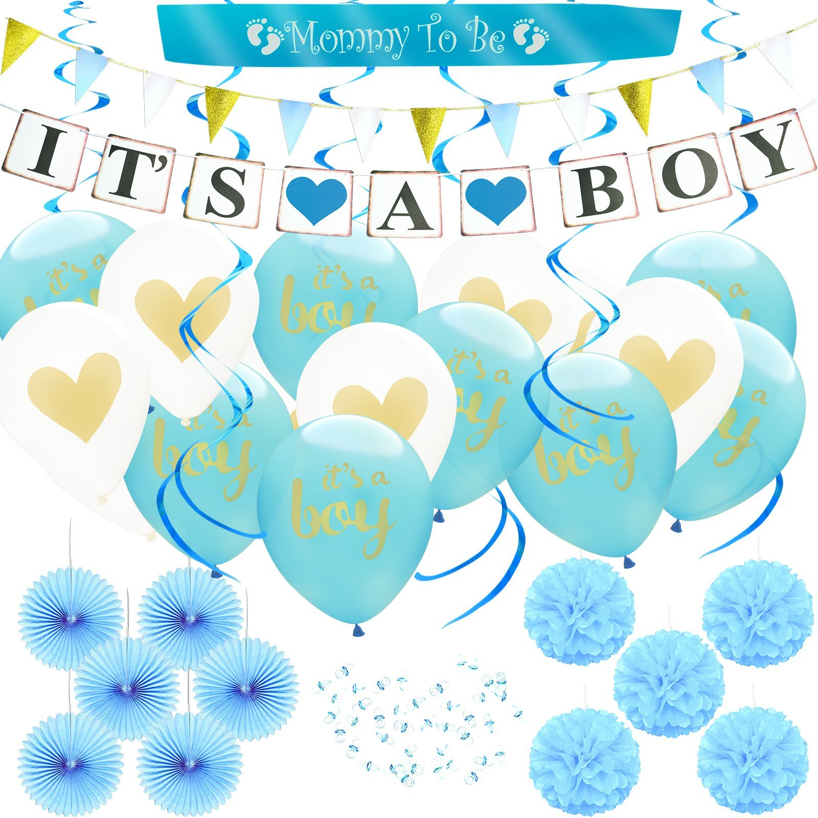 (80pcs) Baby Shower Party Decoration Set for Boy, IT'S A BOY Banner & Balloons, MOMMY TO BE Sash, Blue Paper Flower Decor Favors, Pacifiers, Swirl Garland, Glitter Triangle Banner, Party Supplies