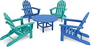 product image for POLYWOOD PWS119-1-PB/AR Classic Adirondack 5-Piece Conversation Set, Pacific Blue/Aruba