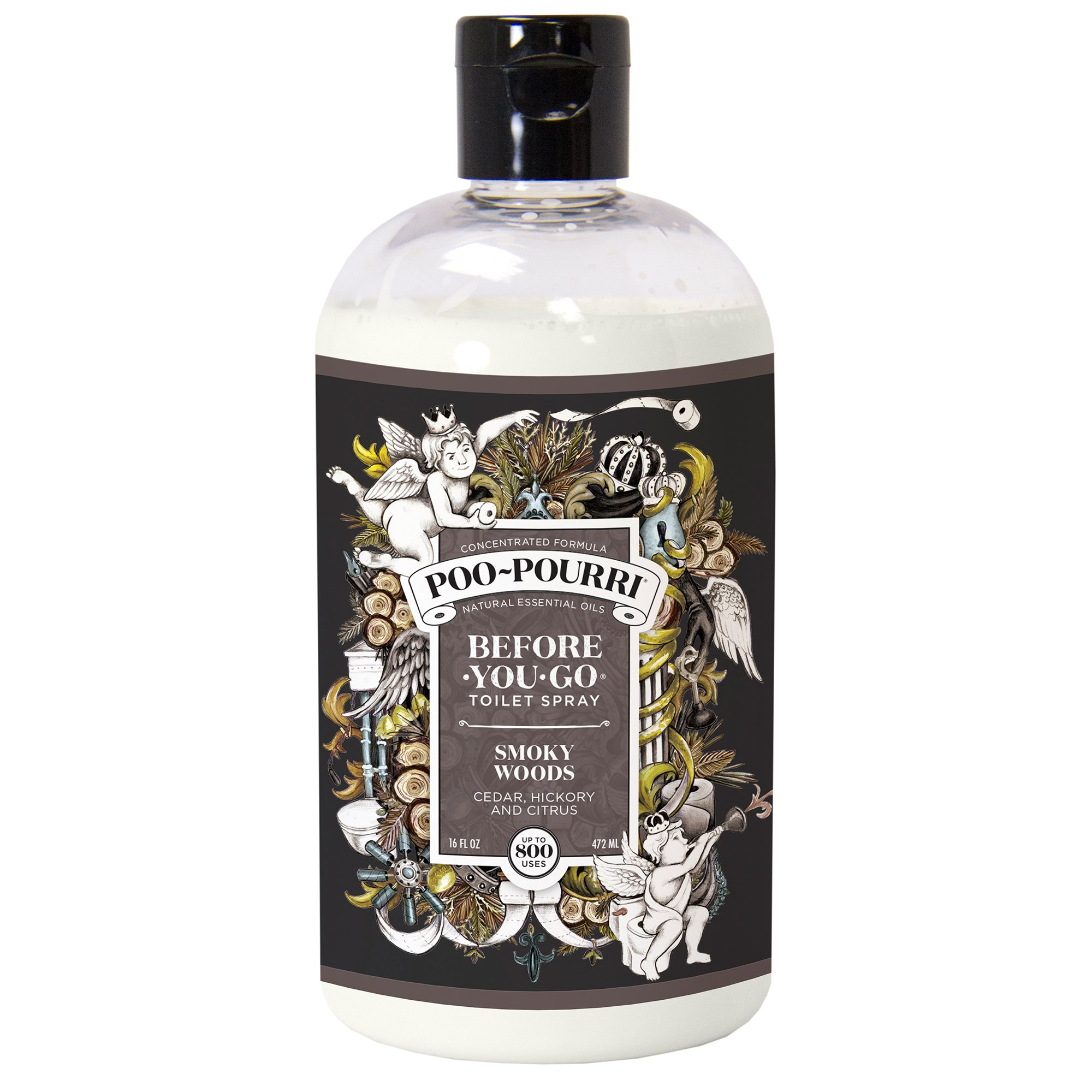 Poo-Pourri Before-You-Go Toilet Spray Refill(Sprayer Not Included), Smoky Woods Scent, 16 oz by Poo-Pourri