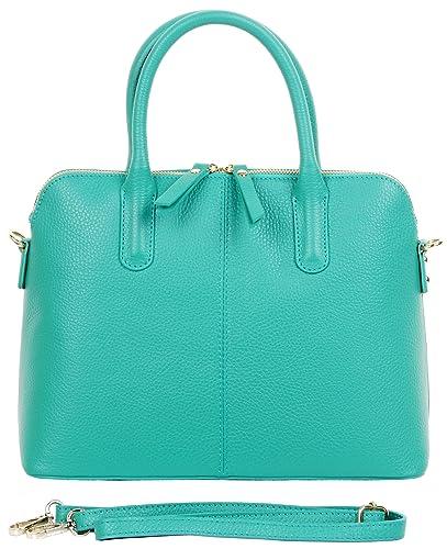 13d514a3a0 Primo Sacchi Italian Textured Leather Light Blue Bowling Style Tote Grab  Bag Shoulder Bag Handbag