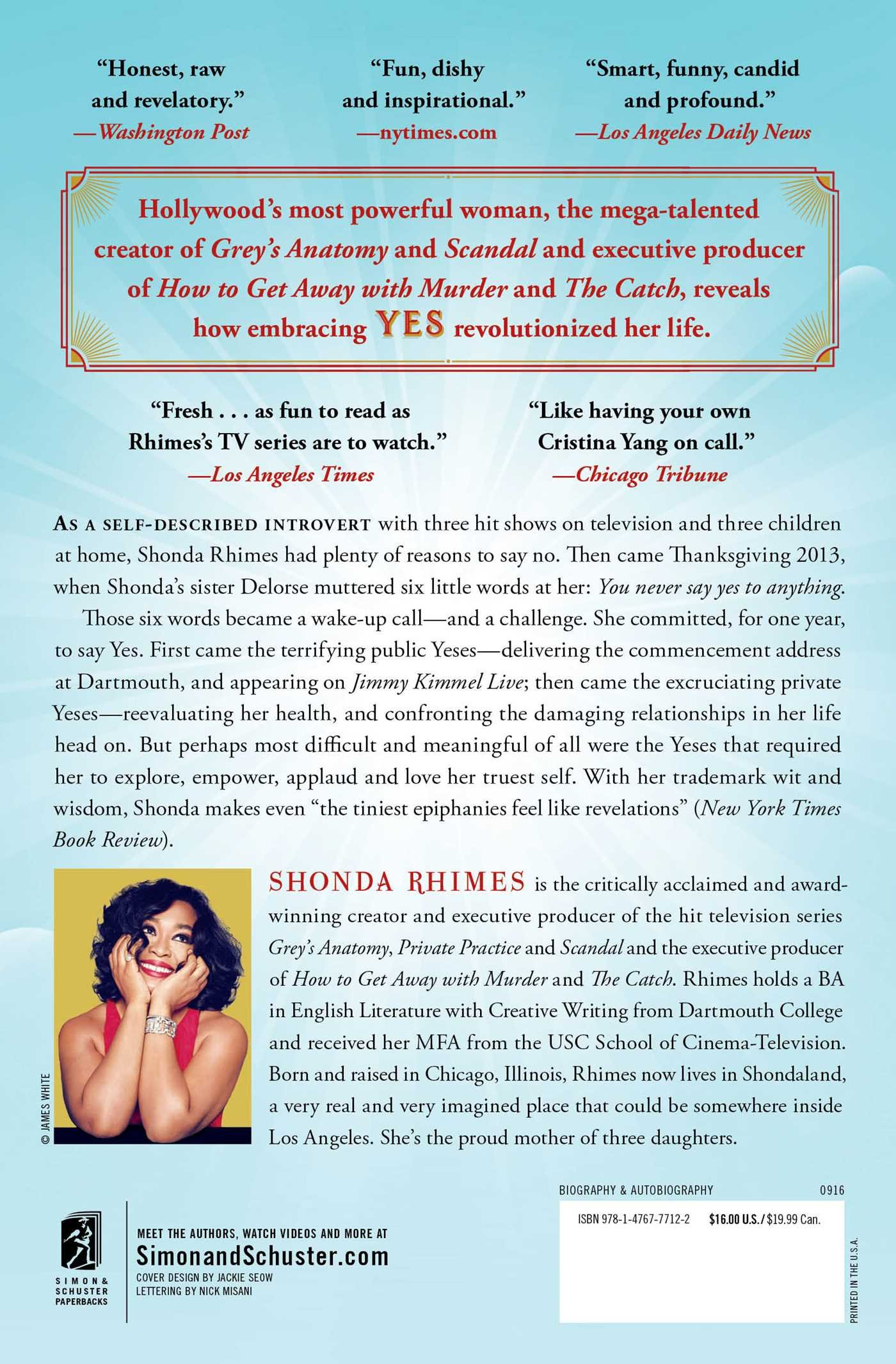 Year Of Yes: How To Dance It Out, Stand In The Sun And Be Your Own Person:  Shonda Rhimes: 9781476777122: Amazon: Books