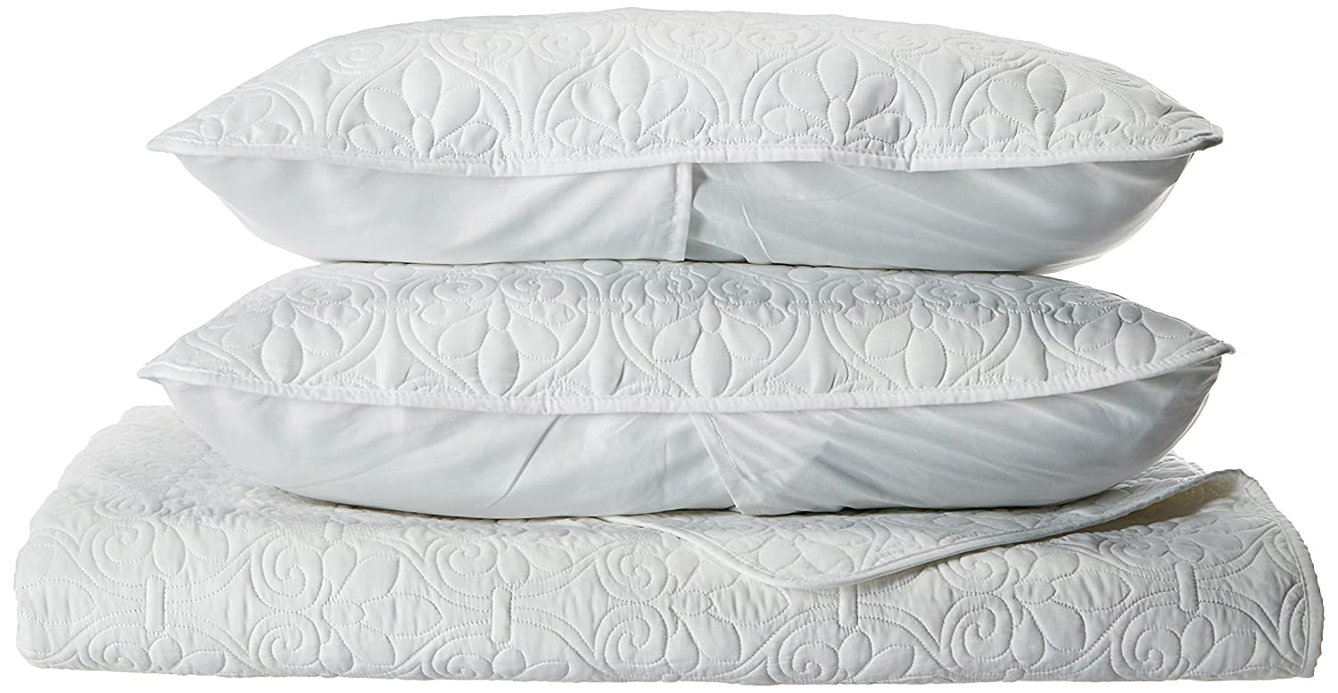 Madison Park Quebec Coverlet Mini Set, Twin/Twin X-Large, White MP13-1387