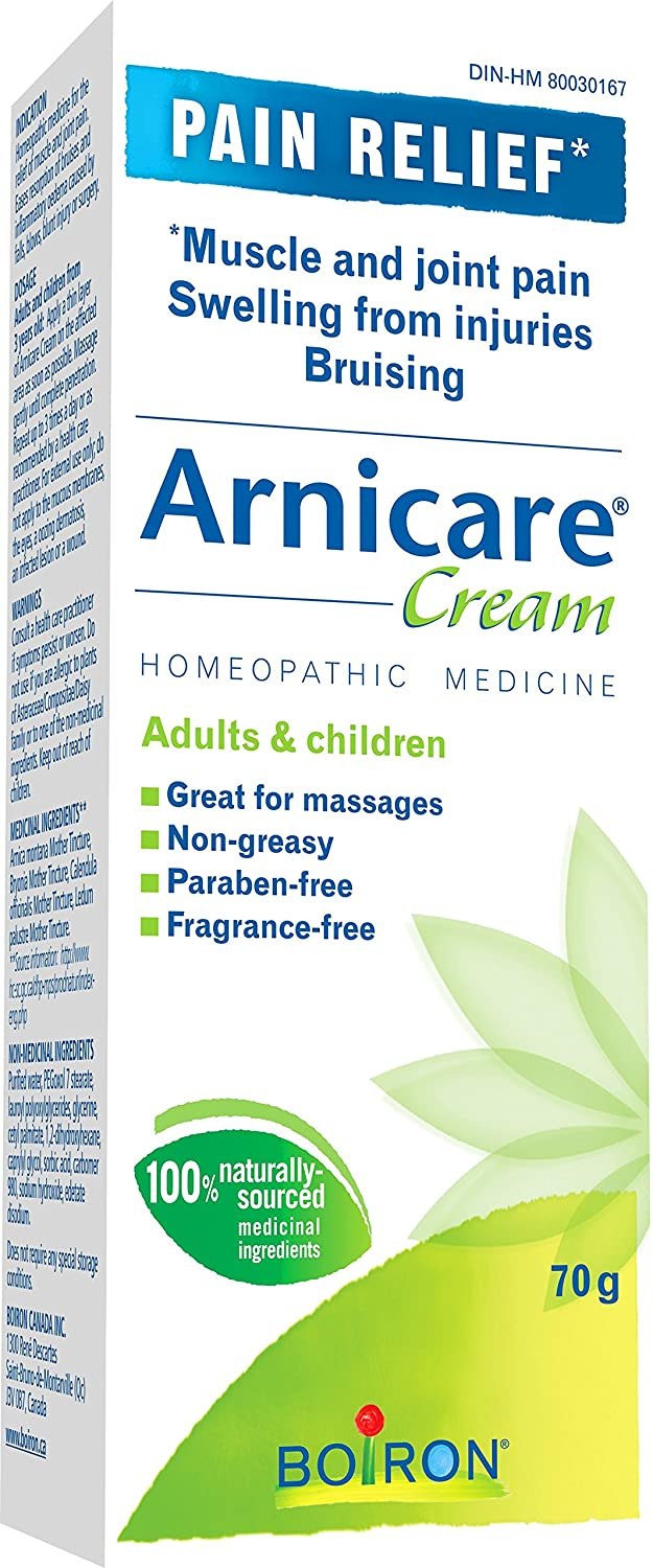 Boiron Arnicare Cream for Pain Relief, 70 g Tube, Topical Homeopathic  Medicine for Muscle and Joint Pain Relief, Swelling from injuries, Bruise &
