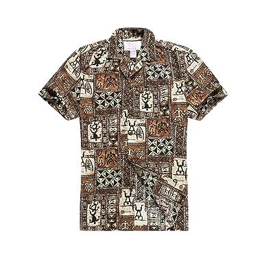 b4bc53709 Made in Hawaii Men's Hawaiian Shirt Aloha Shirt in Brown Classic Patchwork  Hawaiian S