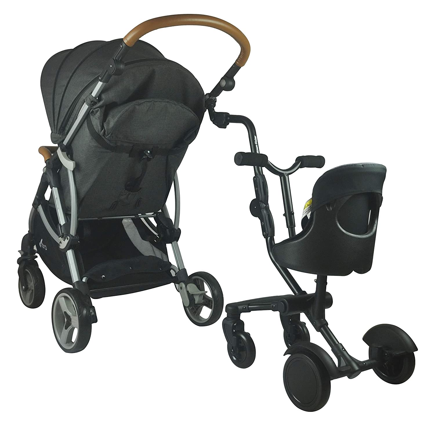 Quick and Easy to Use Child Rides Alongside Stroller Attachment with Comfy Padded Saddle Seat Designed for Safety Universal Fit for Most Strollers Englacha Uptown Rider