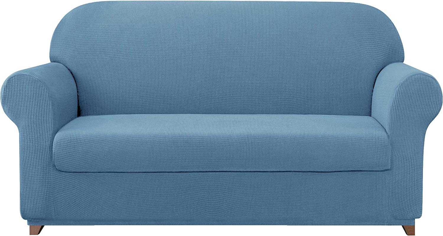 subrtex Sofa Cover 2 Piece Stretch Sofa Slipcover Soft Couch Slipcovers Washable Furniture Covers, Jacquard Fabric Small Checks(Denim Blue,Large)