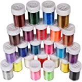 Fine Glitter Set 20g, Teenitor 24pcs Glitter Shake Jars for Art Crafts Painting Scrapbooking Body Slime Holiday Party…