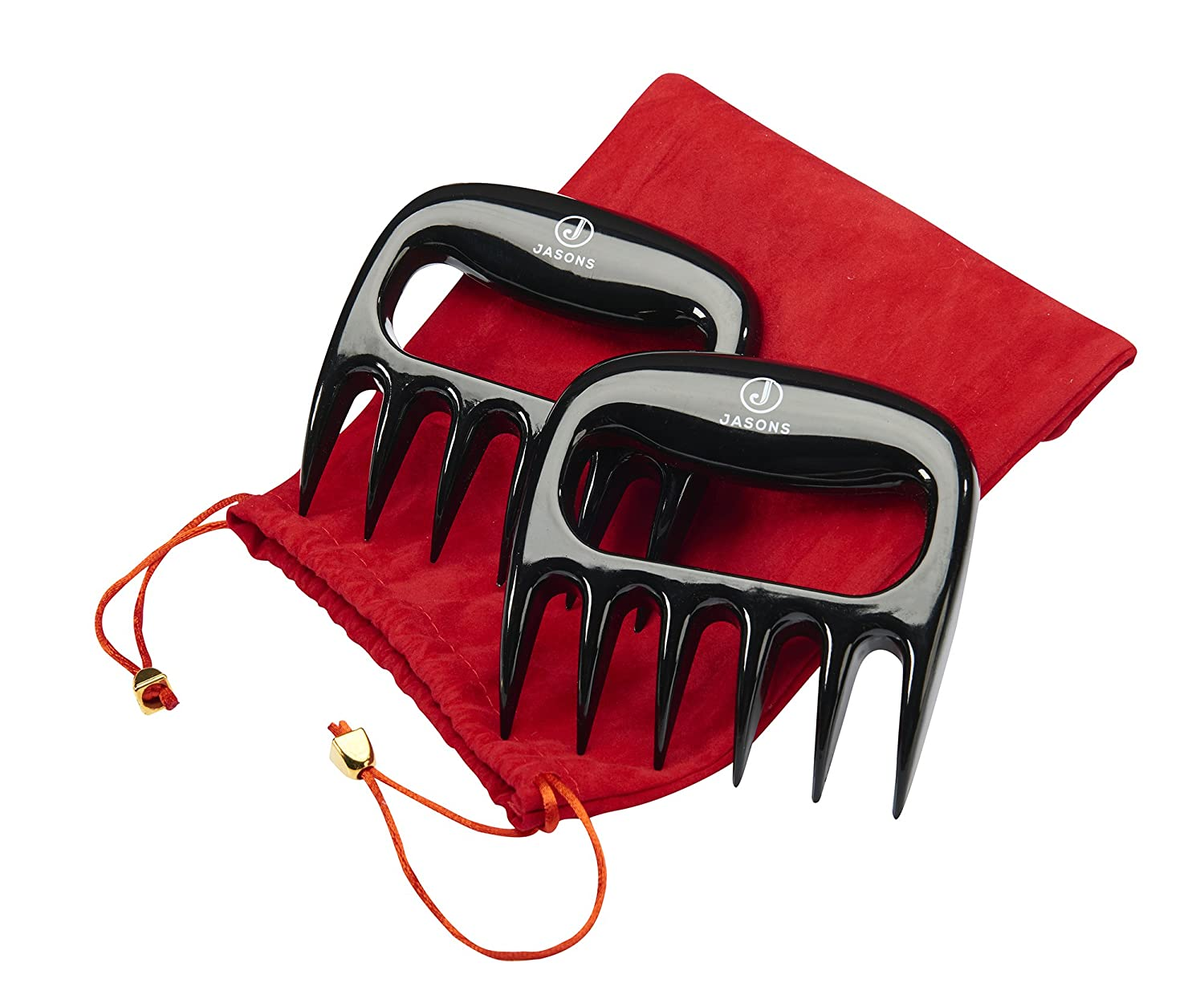 Jasons Premium Meat Shredding Claws BBQ Grilling Handling Lifting Carving Pork Forks Food Shredder Grips Heat Resistant Paws for Pulling Meats- Storage Pouch Bonus