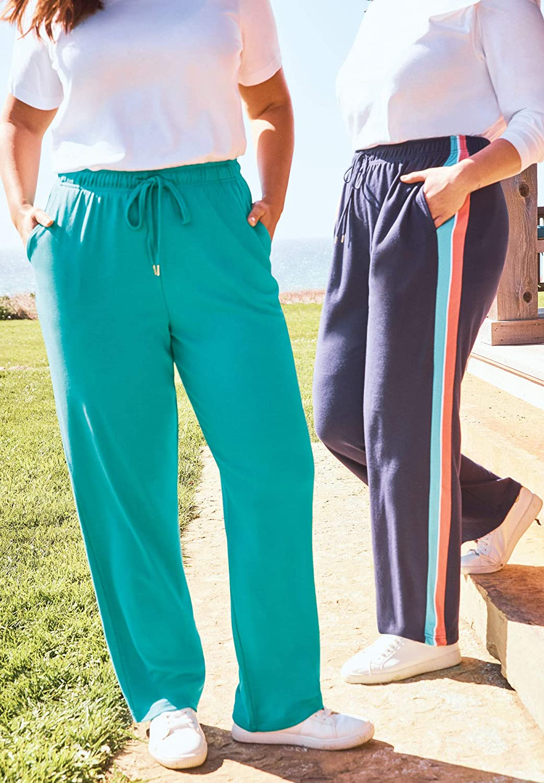Woman Within Womens Plus Size Sport Knit Side-Stripe Pant