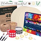 10 Pack 12 Inch Unfinished Wood Circles with 24 Acrylic Paints,3 Paint Brushes,3 Stencil,Ribbon & Twine for Crafts,Painting,W
