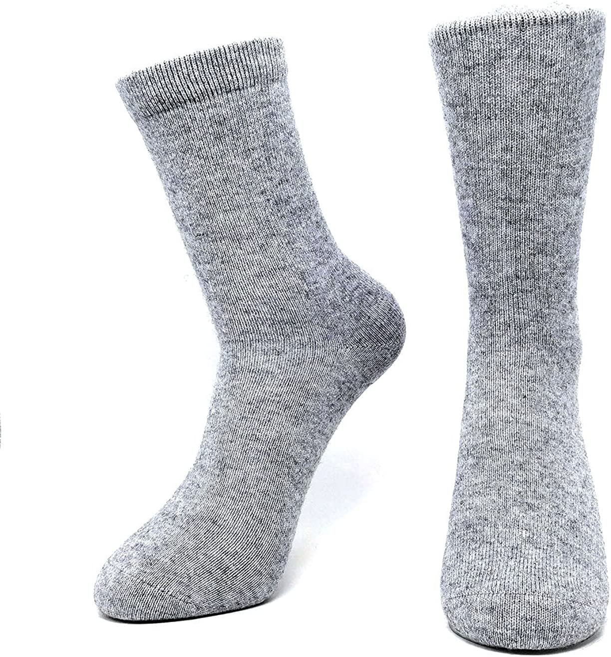 Mongolia Pure Cashmere Thick Unisex Men Women Crew Mid Calf Causal Socks, Smooth Toes and Heel Sewed by Handwork