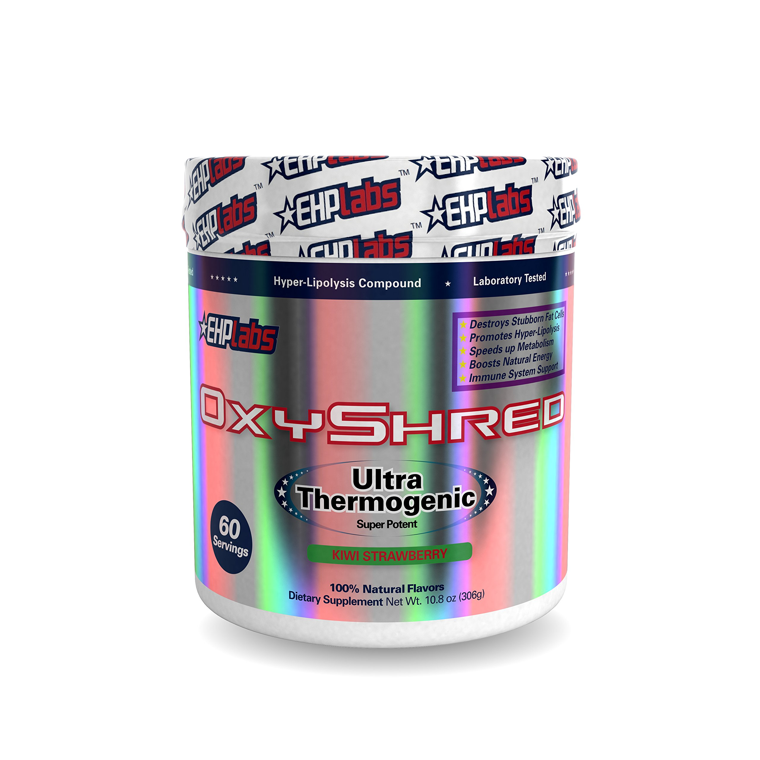 EHPlabs OxyShred Thermogenic Fat Burner Boost Metabolism, Low Stimulant, Destroy Stubborn Fat Cells (60 Servings)(Kiwi Strawberry)