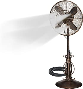 "Oscillating Fan with Misting Kit - 3 Cooling Speeds with High RPM - 40"" to 51"" Adjustable Height - Art Deco Floor Fan with Weighted Base and All-Weather UV Paint for Outdoor Use (Rustique)"