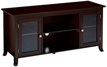 Amazon Com Kings Brand Furniture Tv Stand With Glass Doors Dark