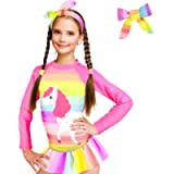 ZukoCert Girls Sunsuit Swimwear Sets Kids Long Sleeve 2 Piece Rash Guard Swimsuits 2-10 Years Surfing Swimsuits for…