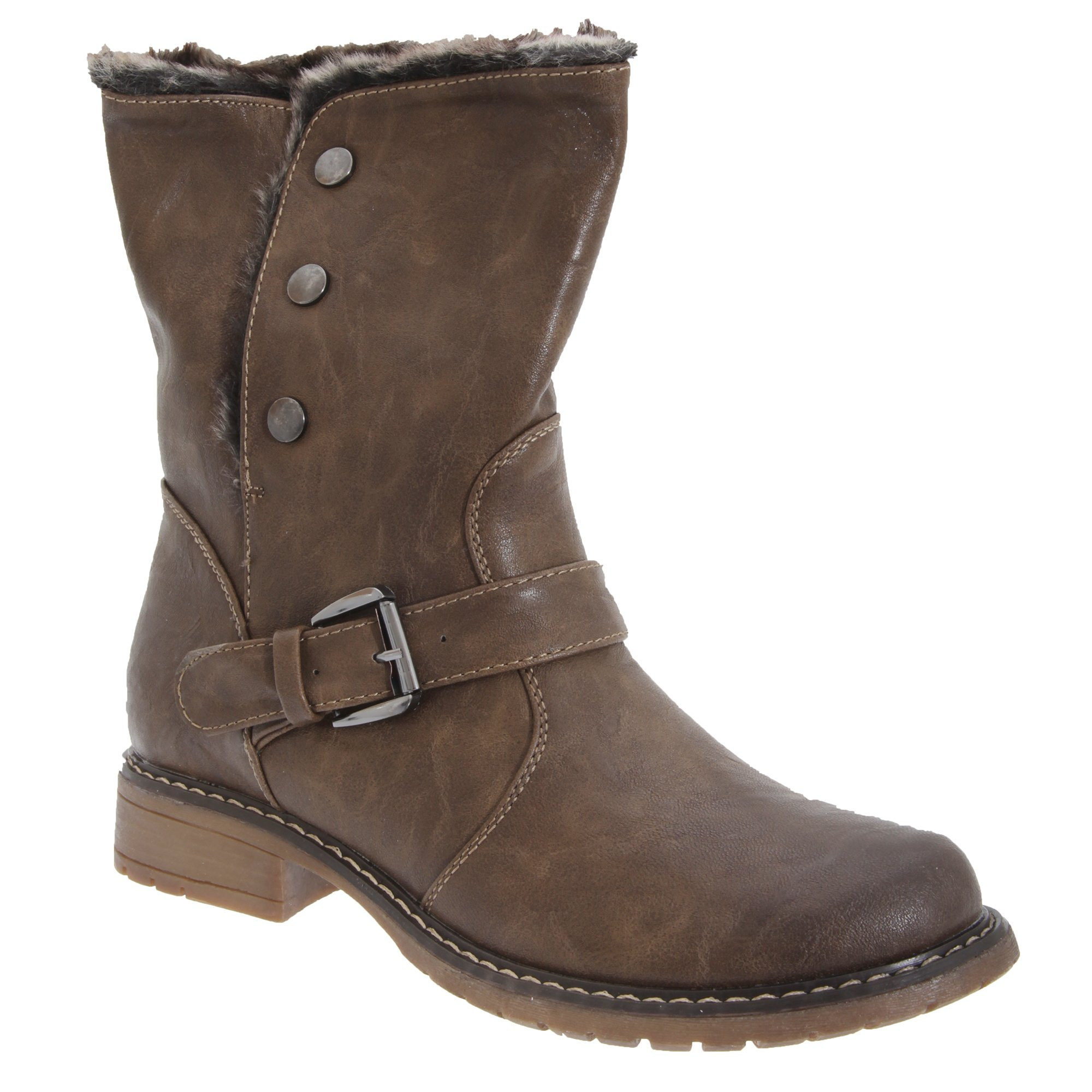 Cats Eyes Womens/Ladies Fold Down Biker Style Ankle Boots (10 US) (Brown)