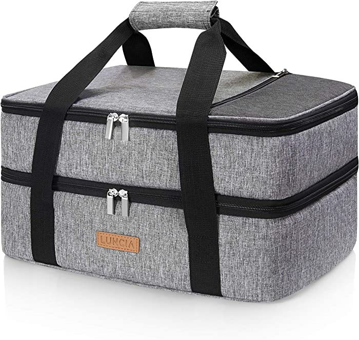 "LUNCIA Double Decker Insulated Casserole Carrier for Hot or Cold Food, Lasagna Holder Tote for Potluck Parties/Picnic/Cookouts, Fits 9""x13"" Baking Dish, Grey"