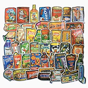 Jasion 50-Pcs Vinyl Stickers Vintage Funny Snacks Food Cartoon Graffiti Decals for Water Bottles Cars Motorcycle Skateboard Portable Luggages Phone Ipad Laptops