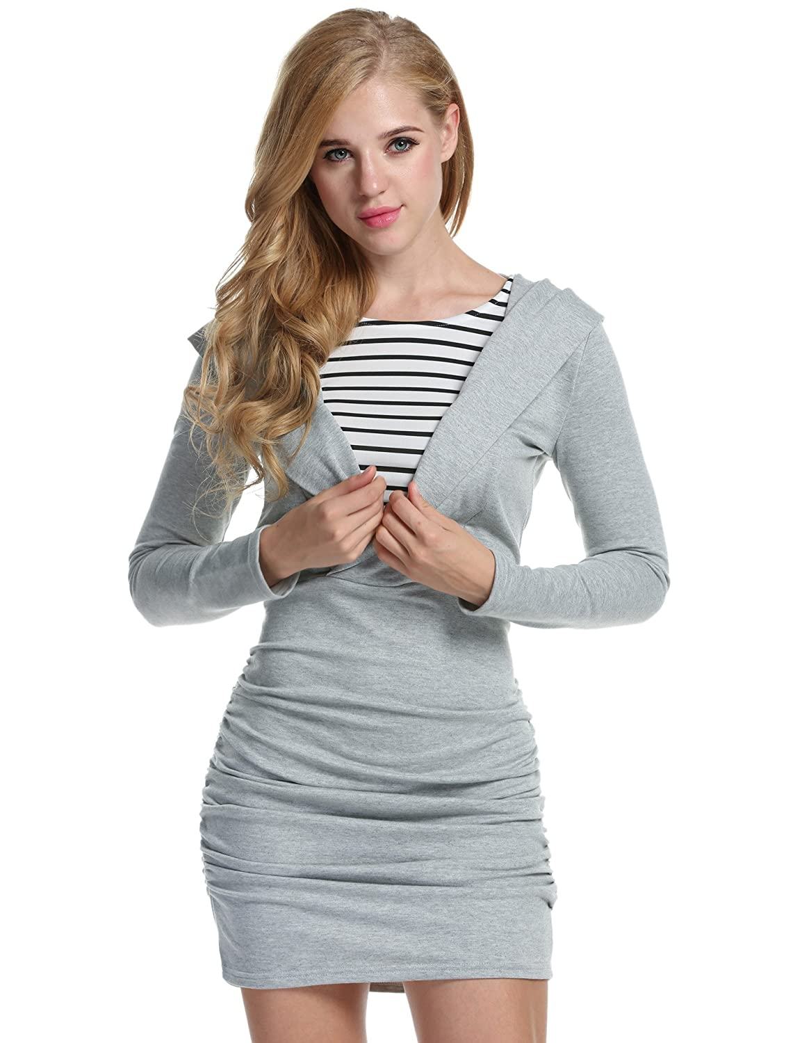ACEVOG Women Long Sleeve 2 In 1 Tunic Club Dress Sweatshirt Hoodies Dress