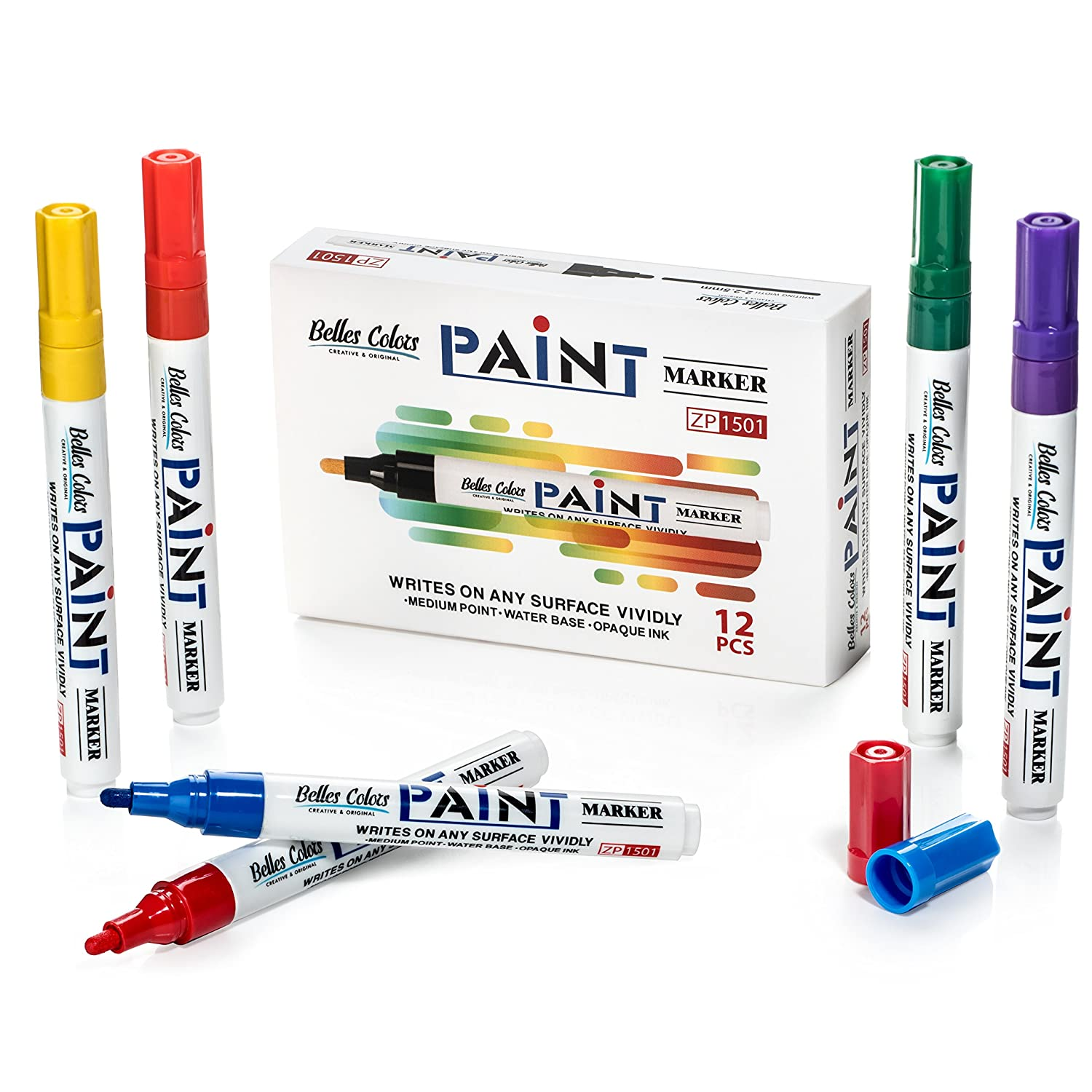 Canvas Low Odor Permanent Ink Quick Drying Plastic Belles Colors Paint Markers Weather Resistant Ceramic Glass Metal Medium Point tip pens for Rock Painting Wood Water-Based 12-Count