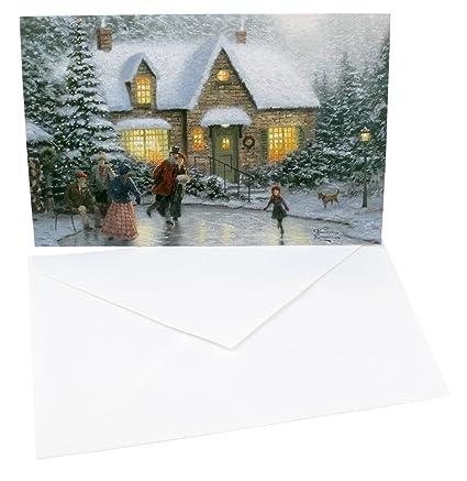 Dayspring Christmas Cards.Dayspring Thomas Kinkade 16 Count Christmas Card Kit Skater S Pond
