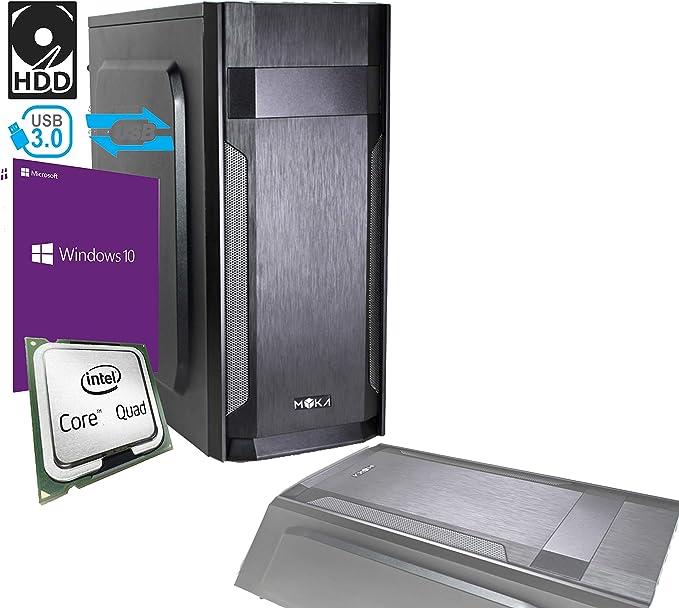 PC Desktop Intel Quad Core licencia Windows 10 Professional 64 bit Case ATX/RAM 8 GB/HD 1TB/WiFi/entradas HDMI DVI VGA 500 W completo Pronto al uso rápido uso Oficina Casa Internet social network: