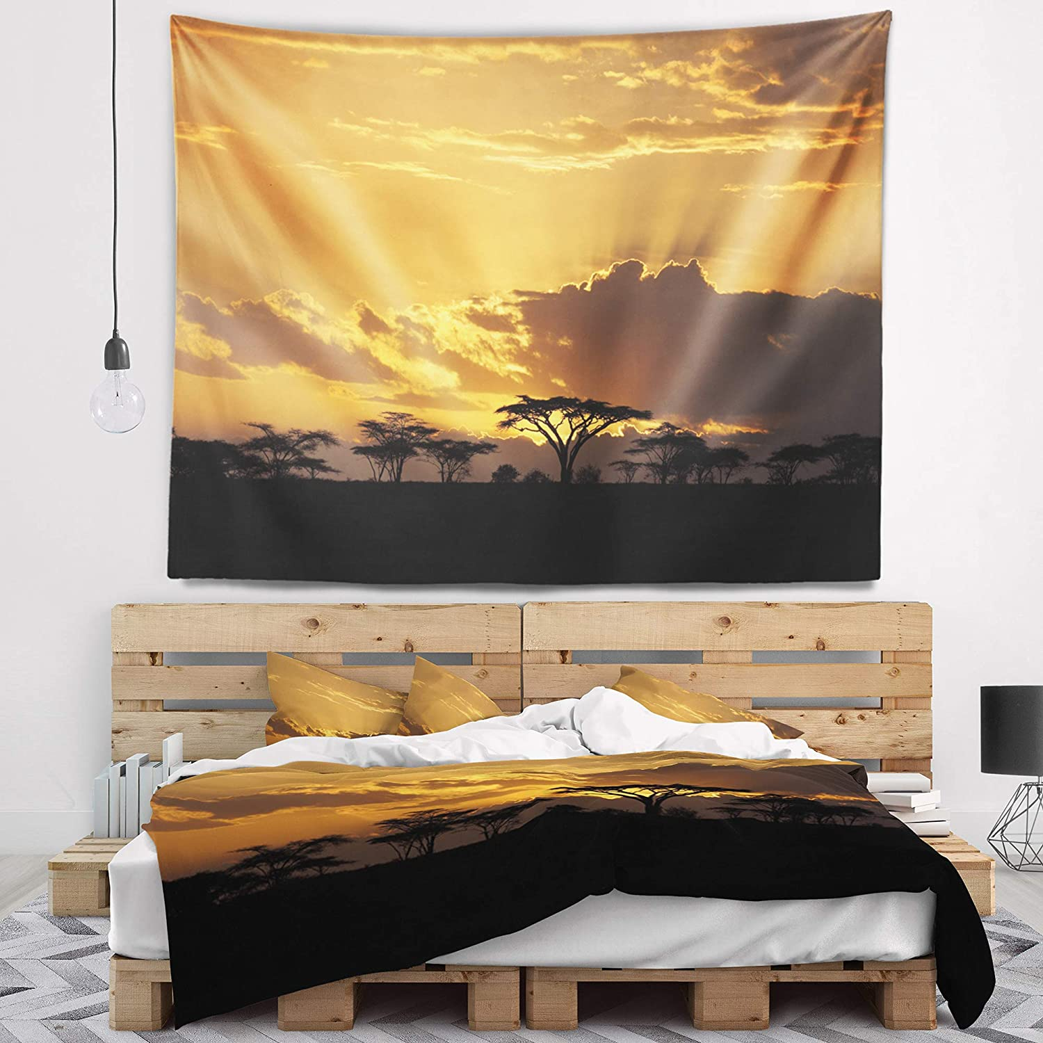 Designart TAP12939-39-32  Sunset in Africa with Acacia Tree Landscape Blanket D/écor Art for Home and Office Wall Tapestry Medium 39 x 32