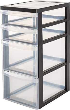 4 tiroirs en plastique Grand Tour Tiroirs De Rangement Poitrine Unité Noir